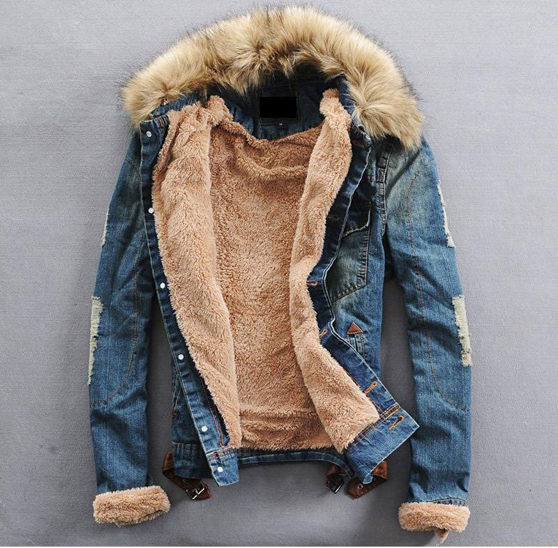 5b0715e3911f Stylish Fur Jean Jacket Denim Thick Fur Collar Western Cowboy Coat Overcoat  2016