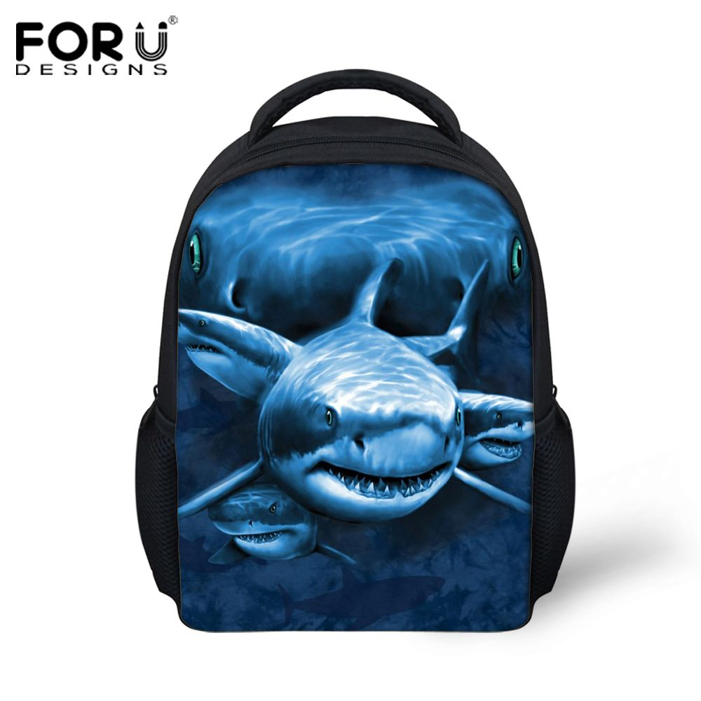 fcdc56f128a9 12-inch Mochila Infantil Shark Dolphin Prints Backpack Children School Bags  Boys Small Animal Schoolbags