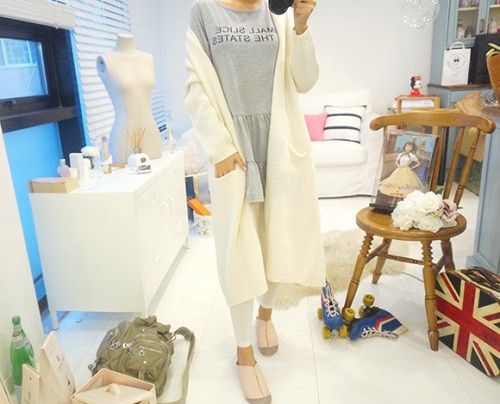 Knee Length Knit Cardigan