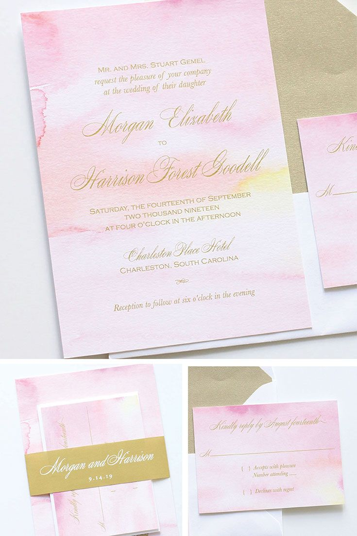 Pink and gold watercolor wedding invitations. Customizable. Blush ...