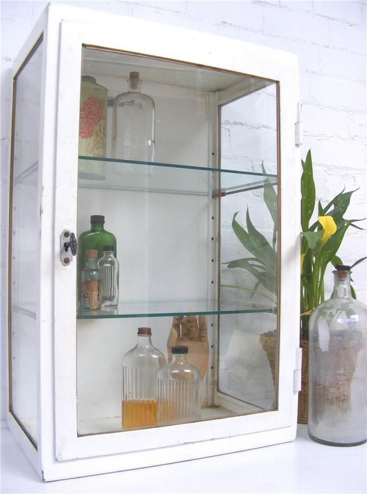 Vintage Metal Amp Glass Medical Industrial Cabinet Curio