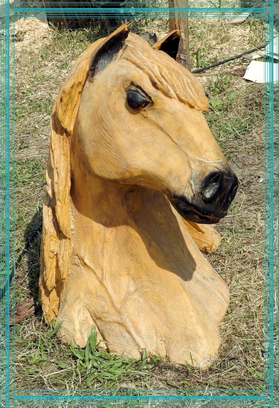 pferdekopf mit der kettensäge geschnitzt   holzskulpturen in 2018