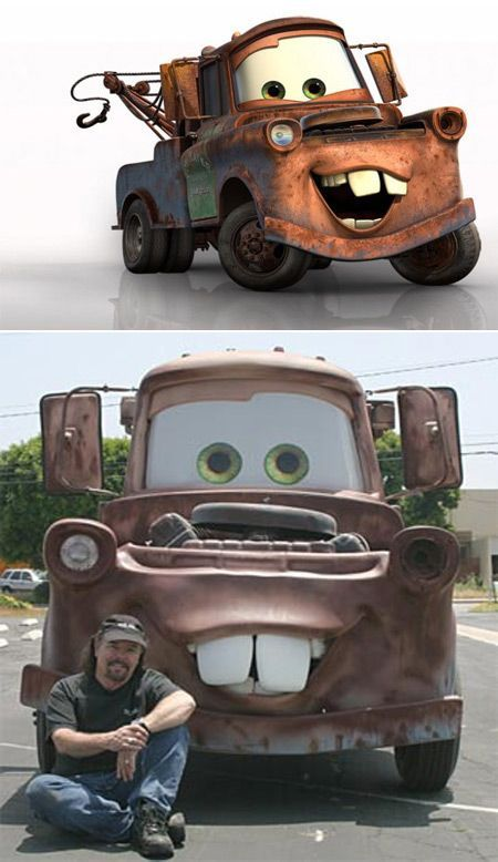 Eddie Paul Poses With The Finished Mater Cars Movie Car Cartoon Cool Sports Cars