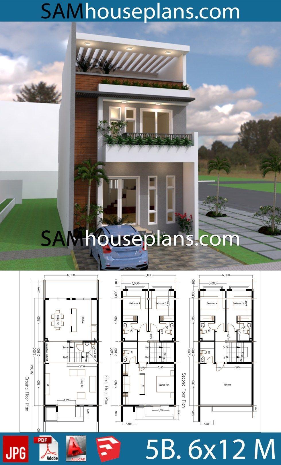 House Plans 6x20 With 5 Bedrooms Sam House Plans 6x20 Bedrooms House Plans Sam Casas Multifamiliares Planos De Casas Medidas Planos Para Construir Casas