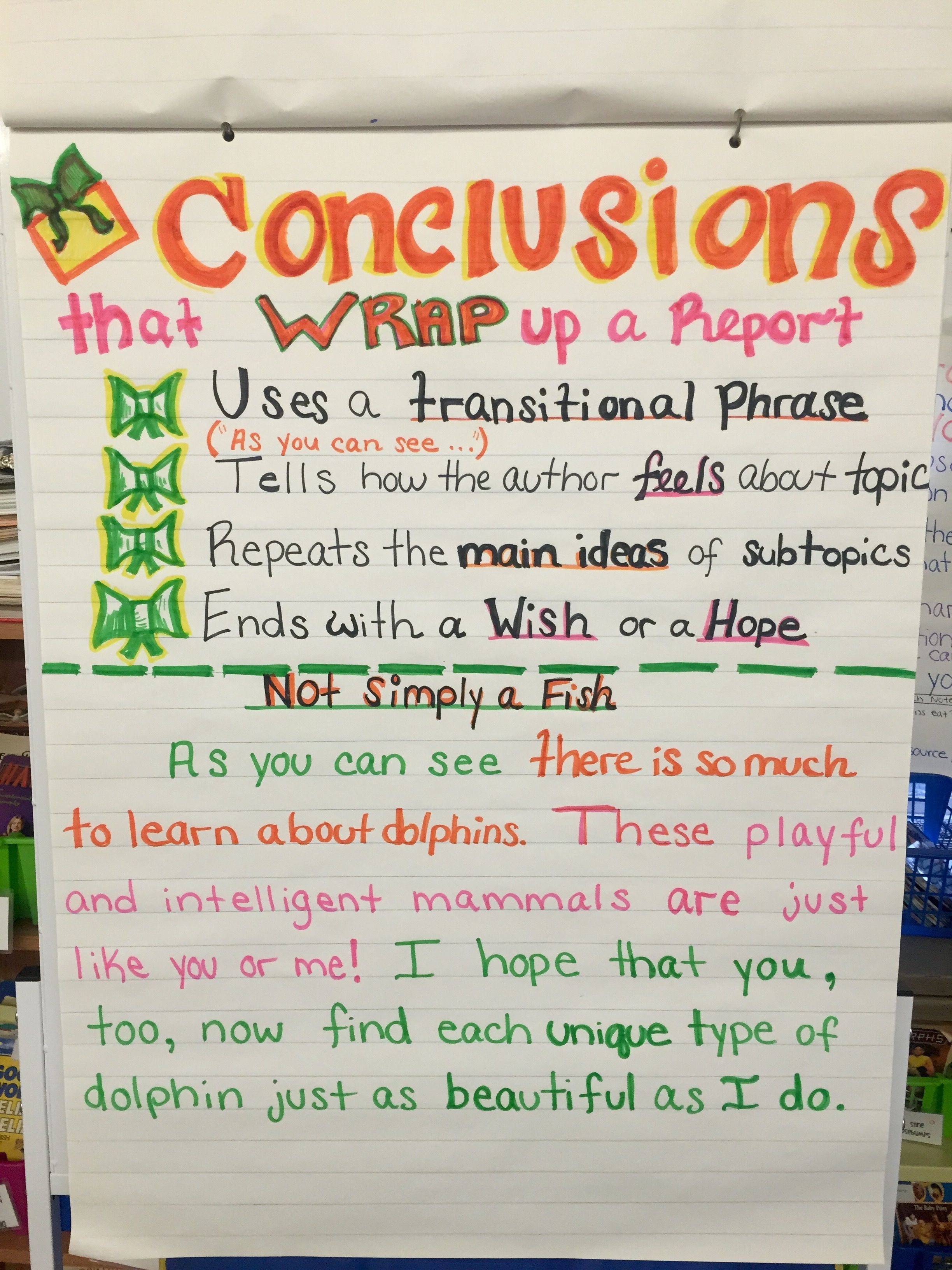 How to write a conclusion to a nonfiction report about an animal