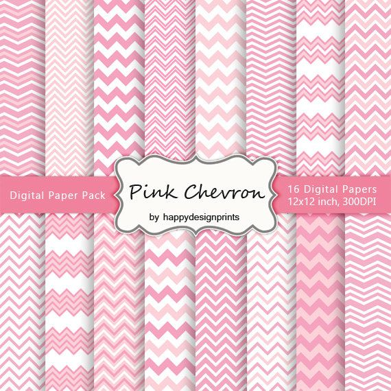 Pastel Pink Chevron Wallpaper Digital Paper Pack of 16, 300 dpi, 12x12 Instant Download Pattern Pa #pinkchevronwallpaper