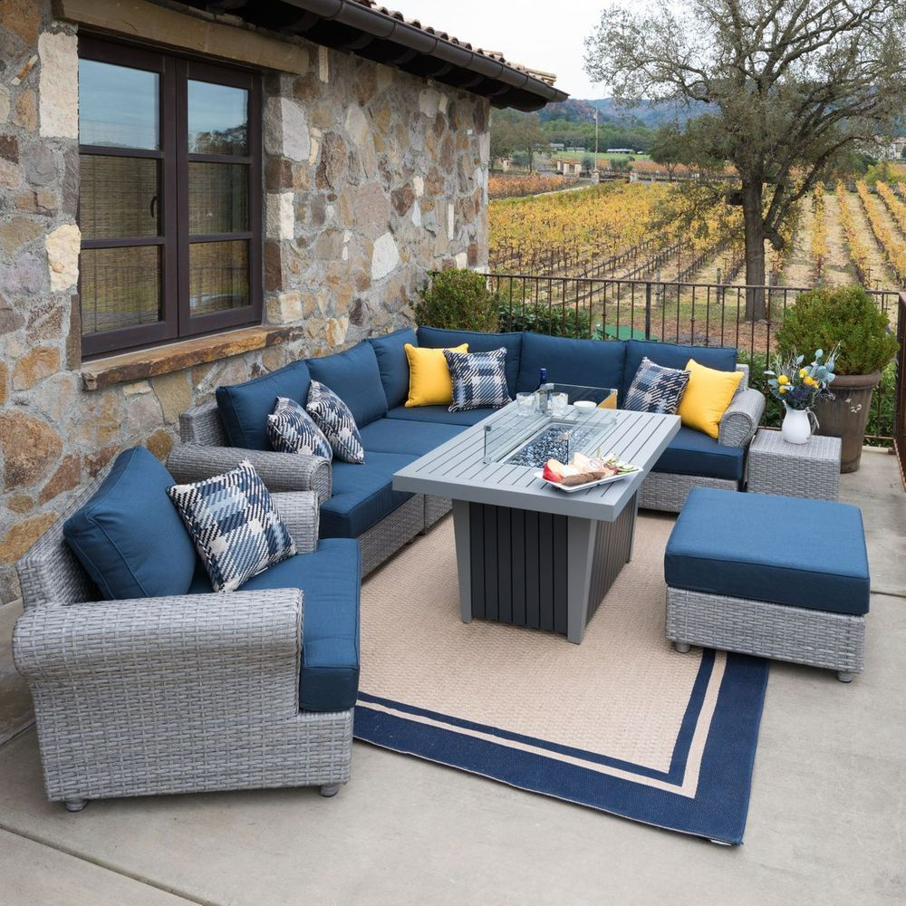 Regency 8-piece Seating Set with Fire Table in 8  Outdoor