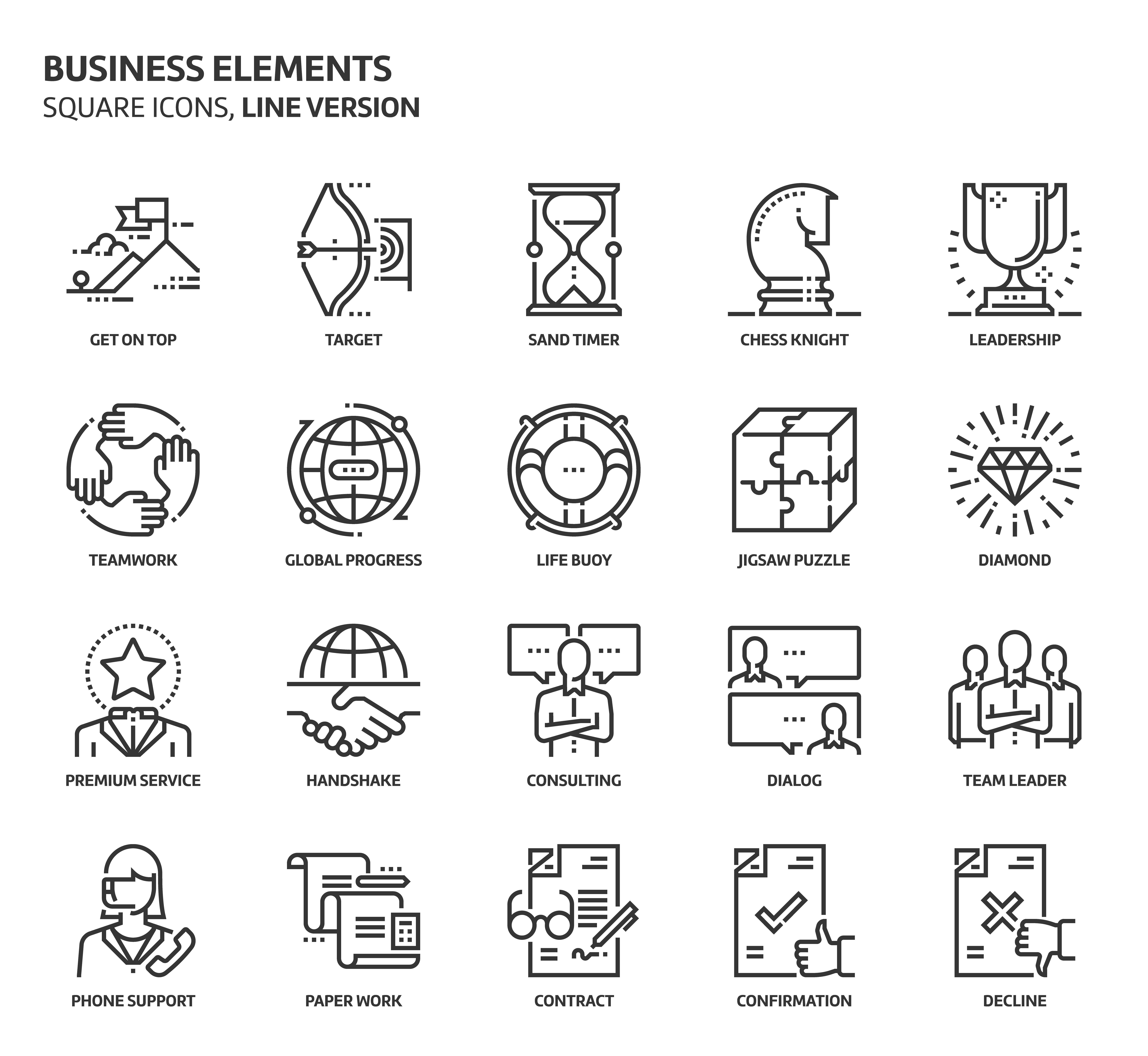 Business elements, square icons #formats#file#files#stroke | Design