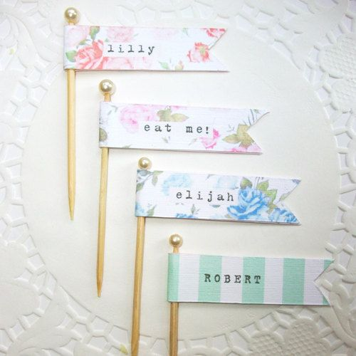 Flag place cards emma zangs what if these flags were wrapped around if you want to make something yourselfpossible diy project floral vintage flag place cards solutioingenieria Image collections