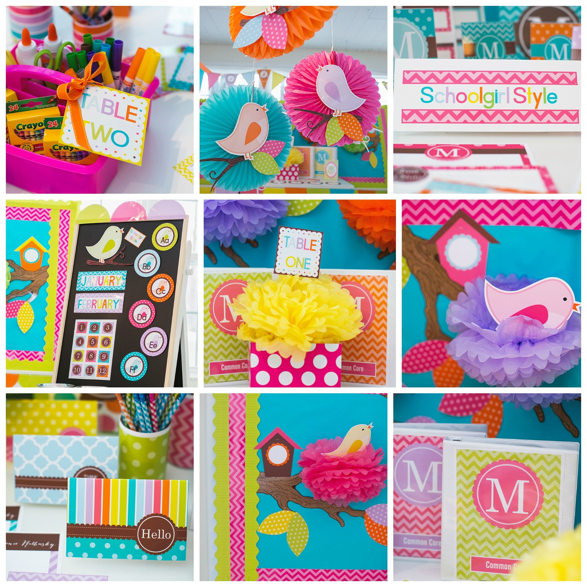 Lovely Classroom Decoration Theme Ideas Part - 3: Bird Classroom Theme Decor By Schoolgirl Style Owl Chevron Polka Dots Pink  Green Orange Turquoise Lavender