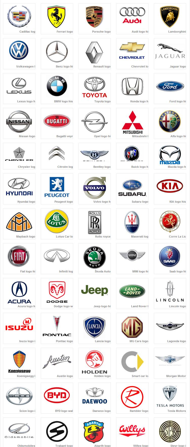 Car Logos inspiration for logo design. car based, not