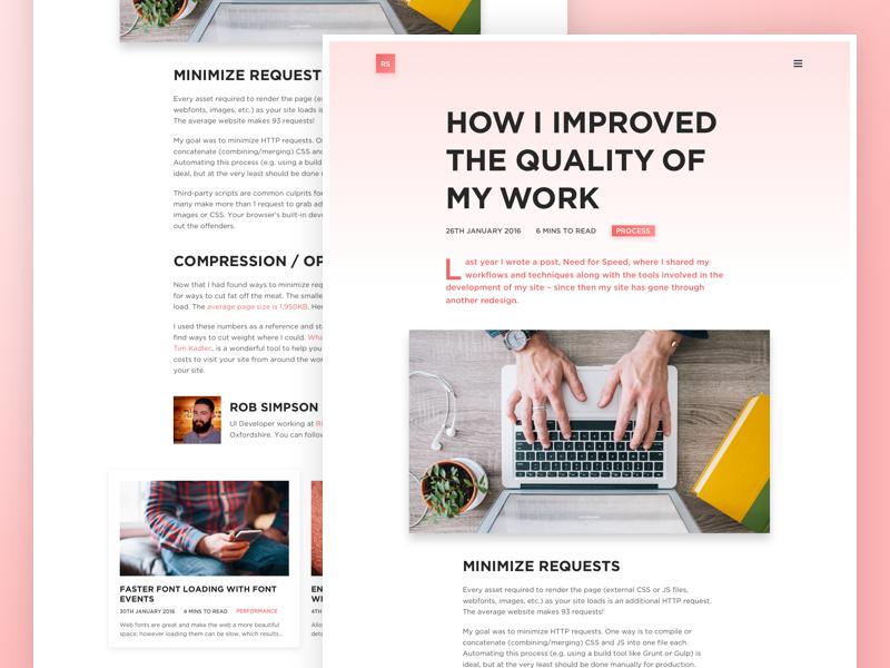 Portfolio blog article page