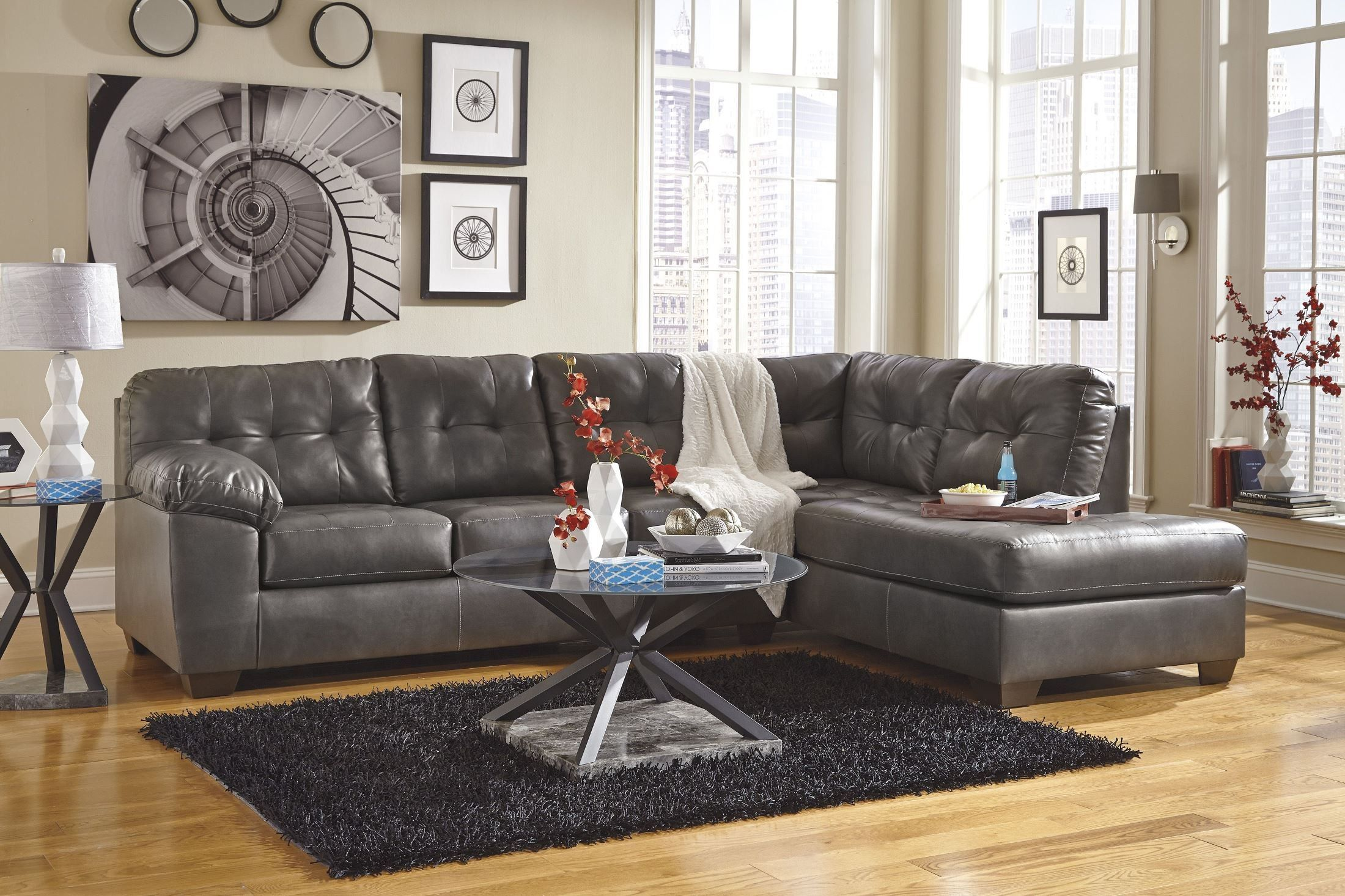 Alliston Gray RAF Sectional  Mattress furniture, Best leather