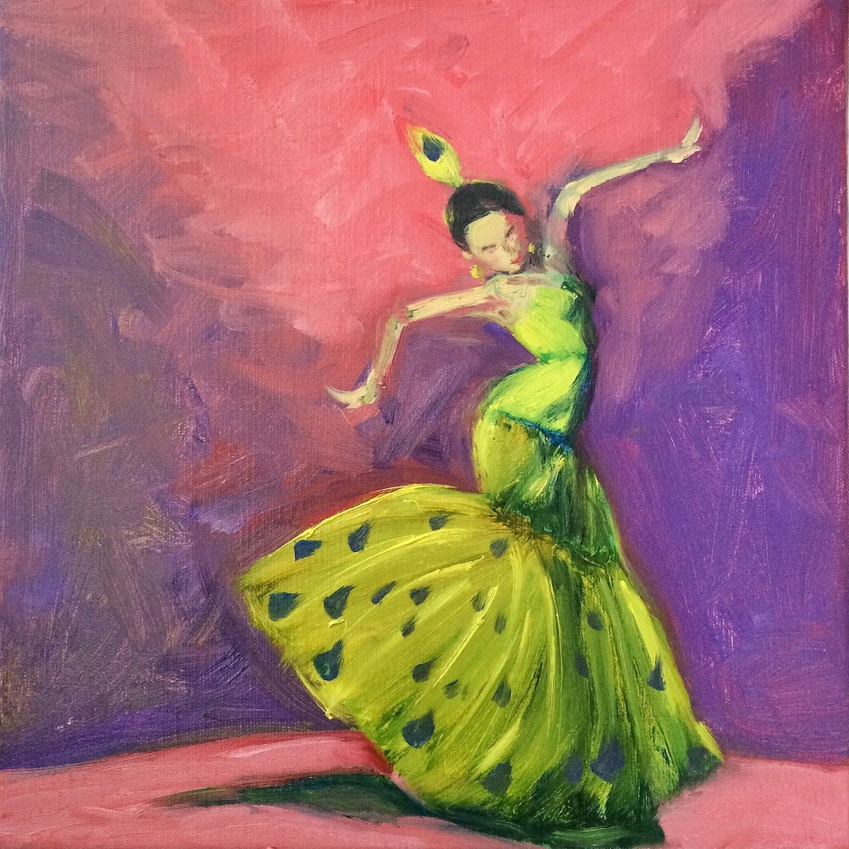 """Life is A Dance    Oil Painting on Stretched Canvas    12""""x12""""x0.6""""    by Lucy Chen    """"Life is a dance, you learn as you go. Sometimes you lead, sometimes you follow. Don't worry about what you don't know. Life is a dance, you learn as you go.""""  — John Michael Montgomery"""