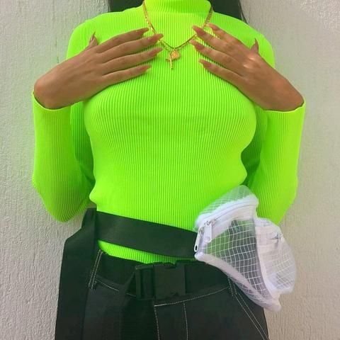 Neon Green Turtleneck Sweater Ladies Tops Fashion Neon Outfits Neon Green Outfits
