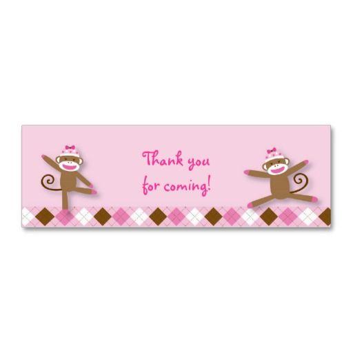 Girl Sock Monkey Goodie Bag Tags Business Card