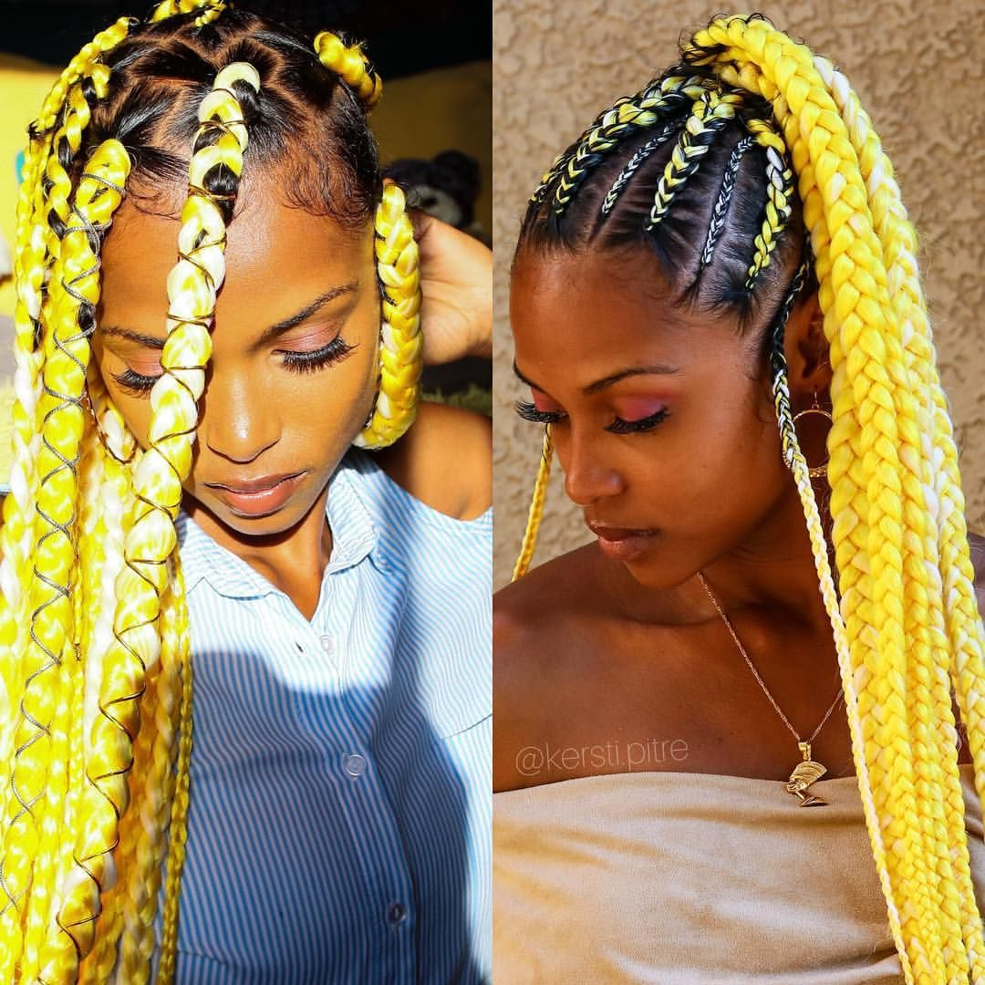 Which yellow braidstyle was your fav? BOX BRAIDS or PONYTAIL