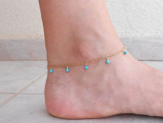 Christmas SALE Turquoise and gold anklet Delicate by SarittDesigns