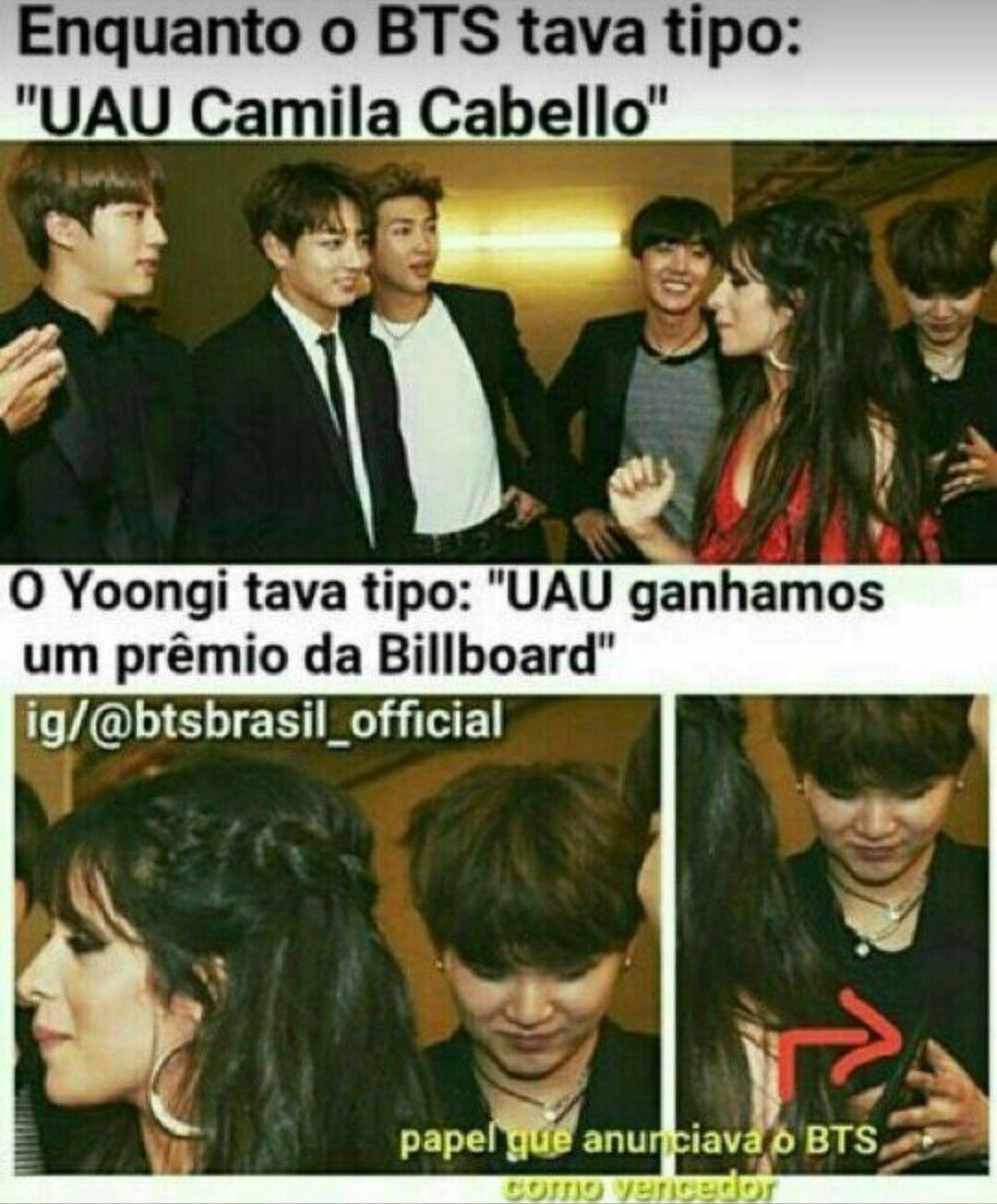 """Cuando BTS estaba tipo: """"Wow, Camila Cabello"""" y Yoongi estaba tipo:  """"Wow, ganamos el premio Bilboard"""" (Perdón si no está bien traducido, No soy Carioca :v)"""