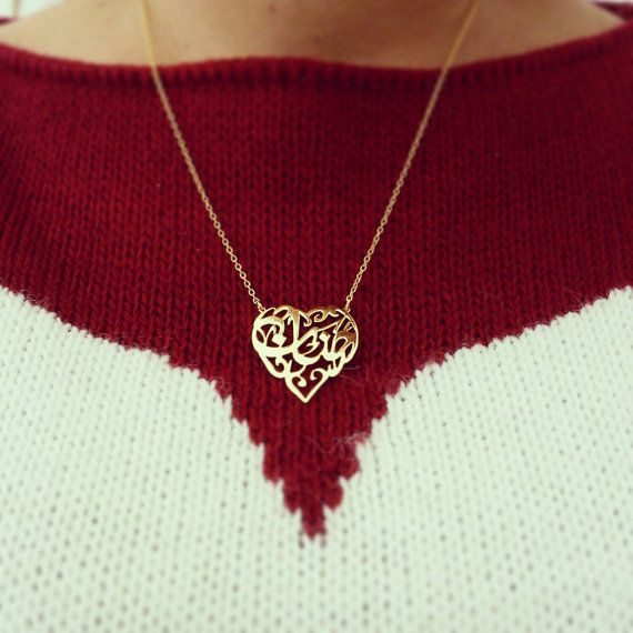Heart Arabic Calligraphy Name Necklace, Gold plated, hand pierced.