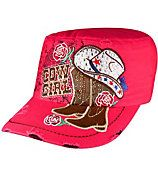 Pink Bling Cowgirl Distressed Cadet Cap #T21COW02-HPK