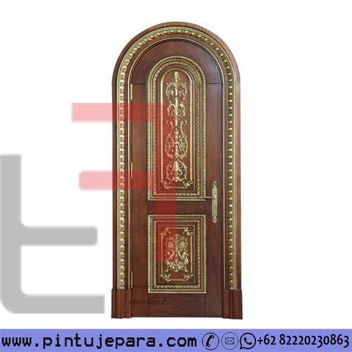 Bedroom Door Curved Carved Teak Wood 1 Leaf PJ-297