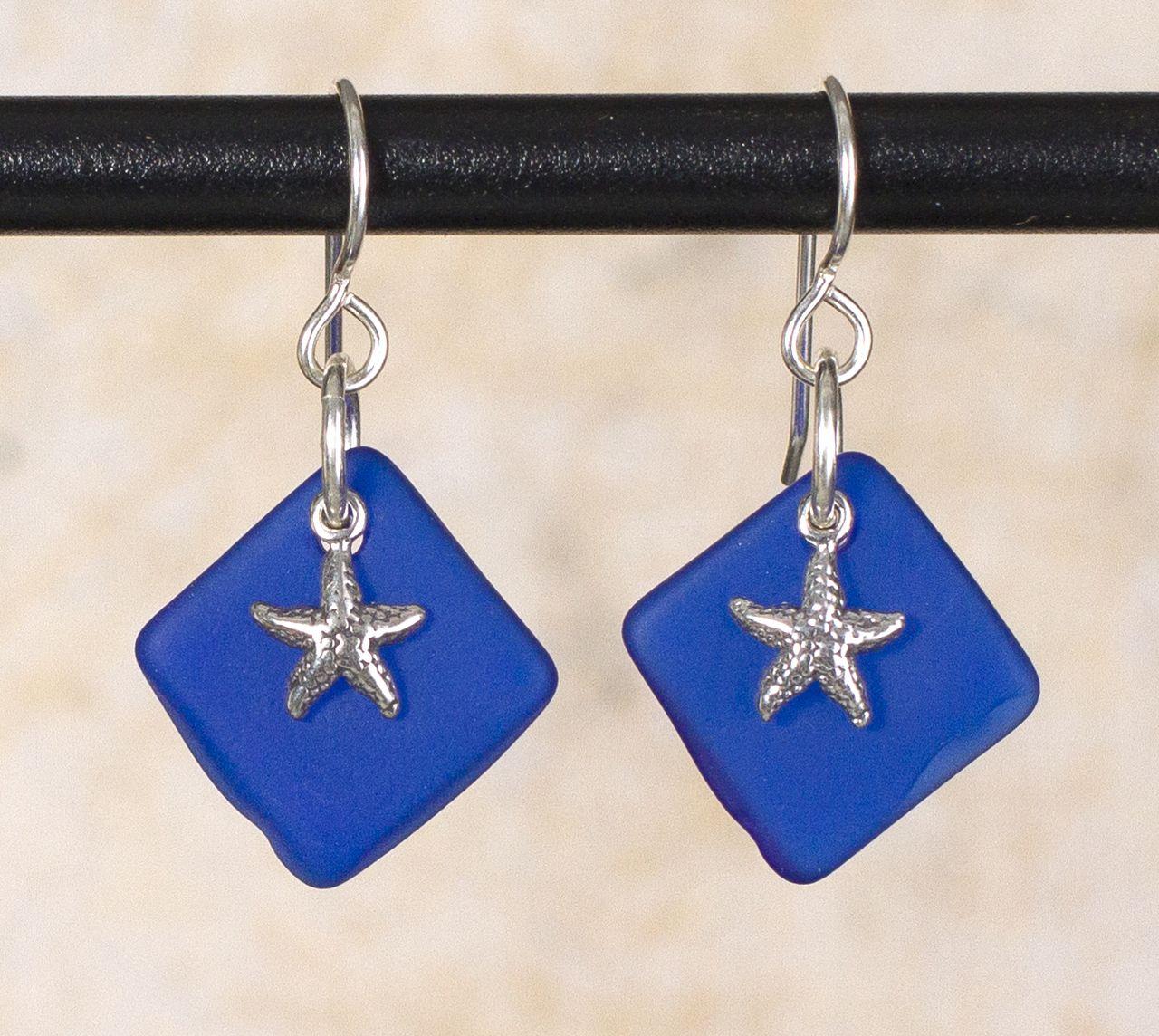 Seaglass starfish charm earrings a a wonderful sea glass beach