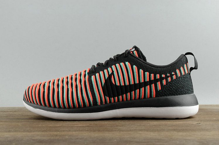 b18423d3aa8a Youth Big Boys Nike Roshe Two Flyknit Black Bright Crimson Clear Jade  844833 003