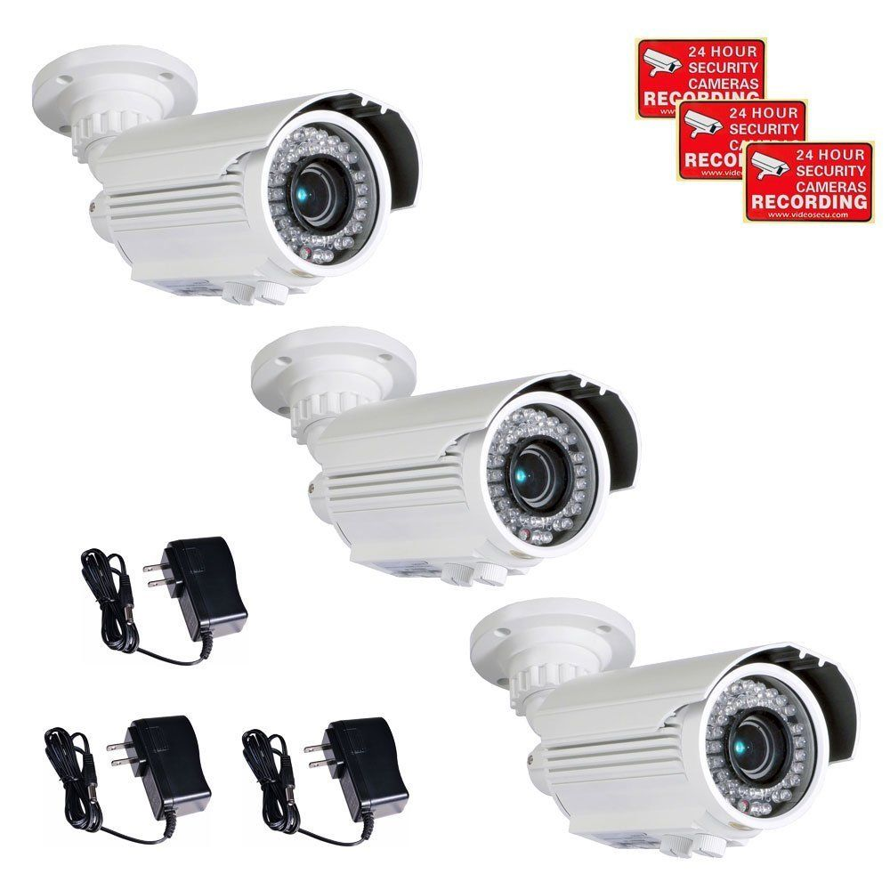 VideoSecu 3 Pack 700 TVL Bullet Security Cameras Built-in SONY ...