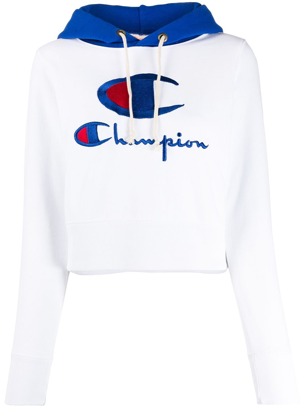 Champion Embroidered Logo Cropped Hoodie Farfetch Cropped Hoodie Hoodies White Hoodie [ 1334 x 1000 Pixel ]