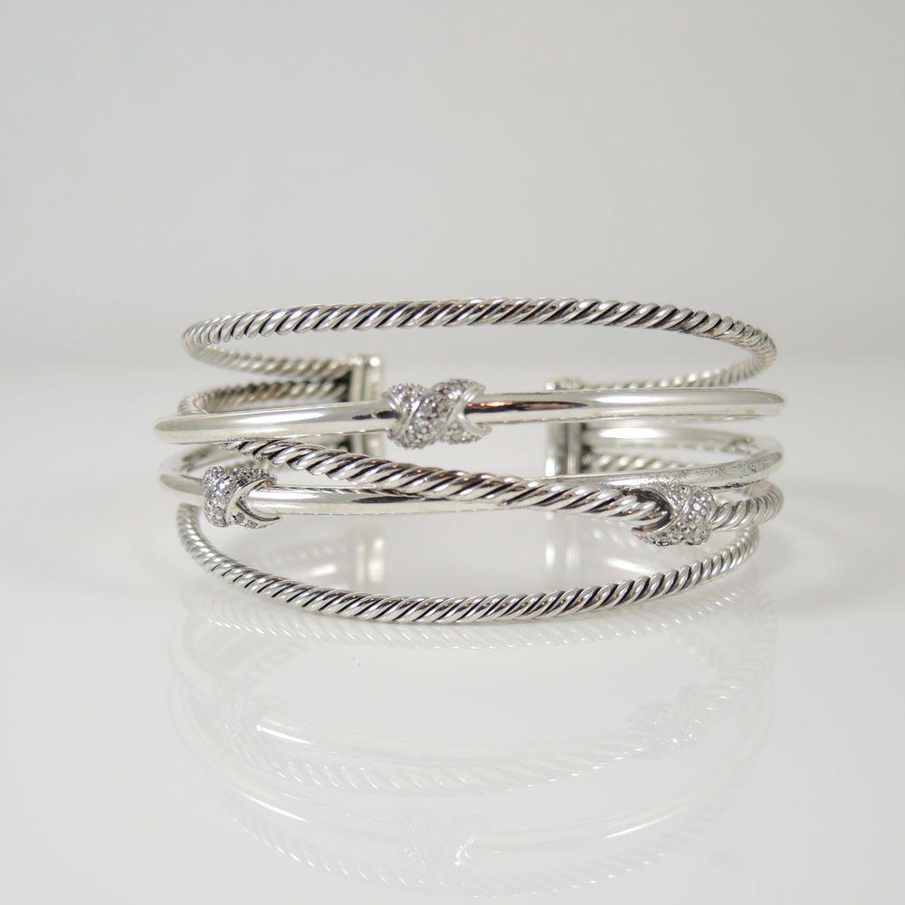 David Yurman Sterling Silver 31tcw 5 Row Crossover Diamond X Cuff Bracelet…