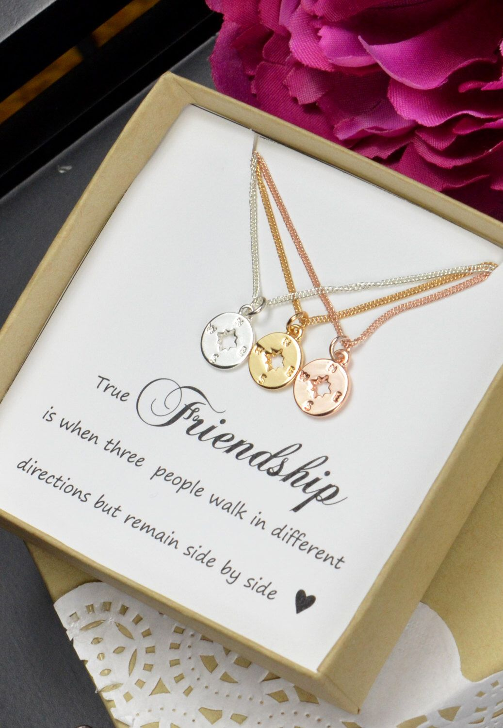 Best Friend Gift,Rose gold Compass Necklace,Best Friend Necklace,Friendship Necklace,BFF Gift,Friendship Gift,compass jewelry,compass charm by DianaDpersonalized on Etsy https://www.etsy.com/listing/489821475/best-friend-giftrose-gold-compass