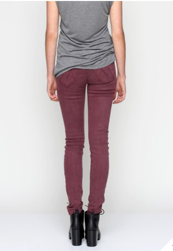 MOTHER DENIM THE LOOKER SKINNY DEEP MAROON $185- CALL SPLASH TO ORDER 314-721-6442