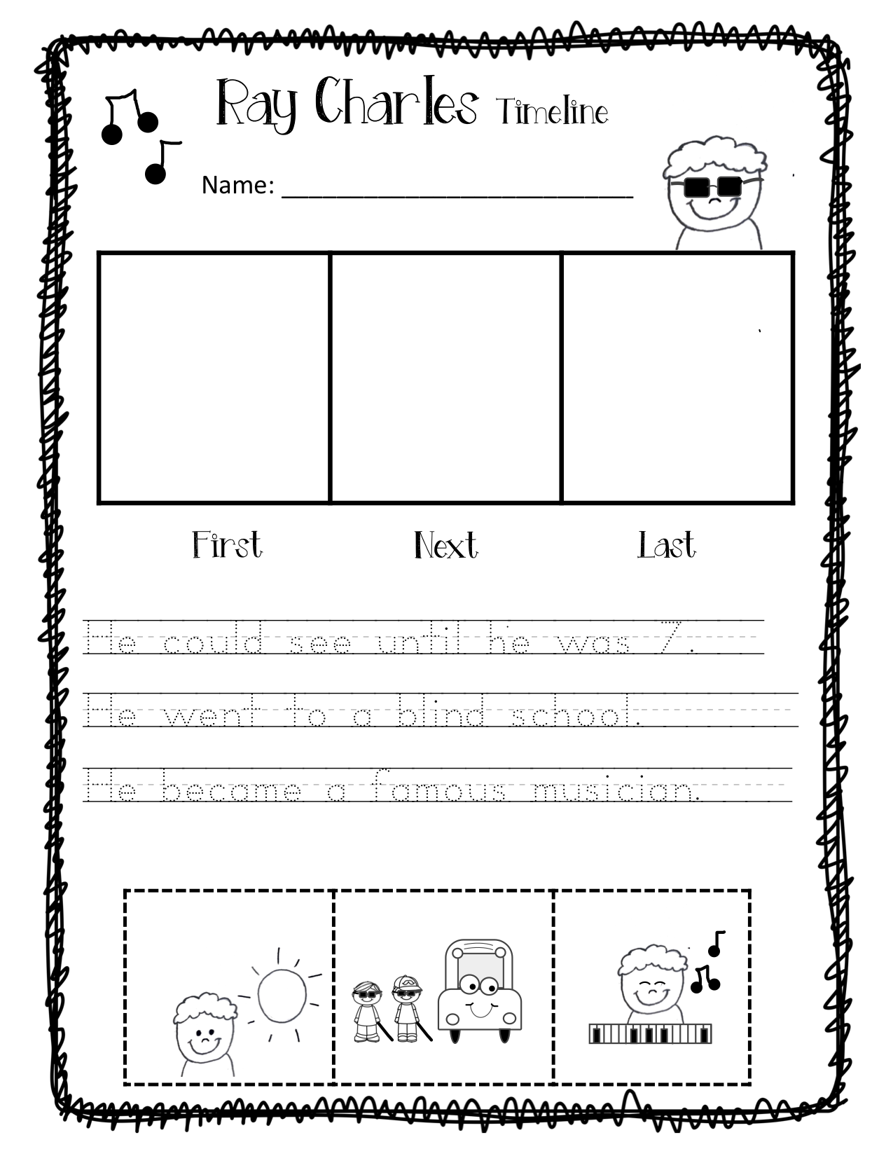 Kindergarten Activity 5 Senses Ray Charles Sight With