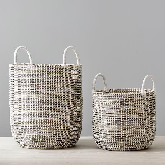 Woven Seagrass Storage Baskets Medium Single Blush