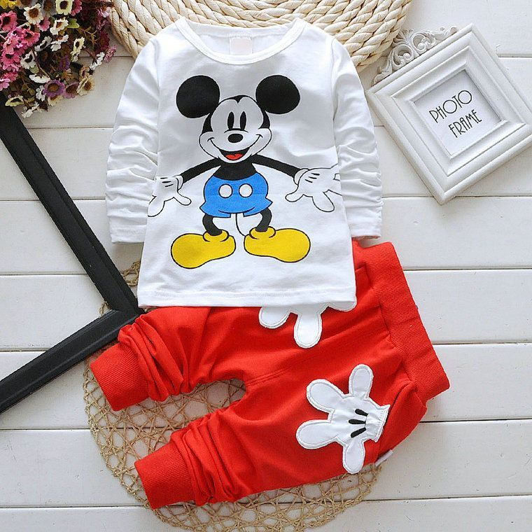 Mother & Kids Clothing Sets Disney Mickey Minnie Baby Boys Girl Clothes Spring Autumn Cartoon Leisure Long Sleeve Tops Pants Newborn Baby Clothes Bebes Sets