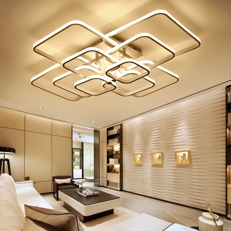High Brightness Modern Led Ceiling Lights For Living Room Bedroom Square Circle Rings Avize Ceiling Lamp Living Room Lighting Led Ceiling Lights Ceiling Lights