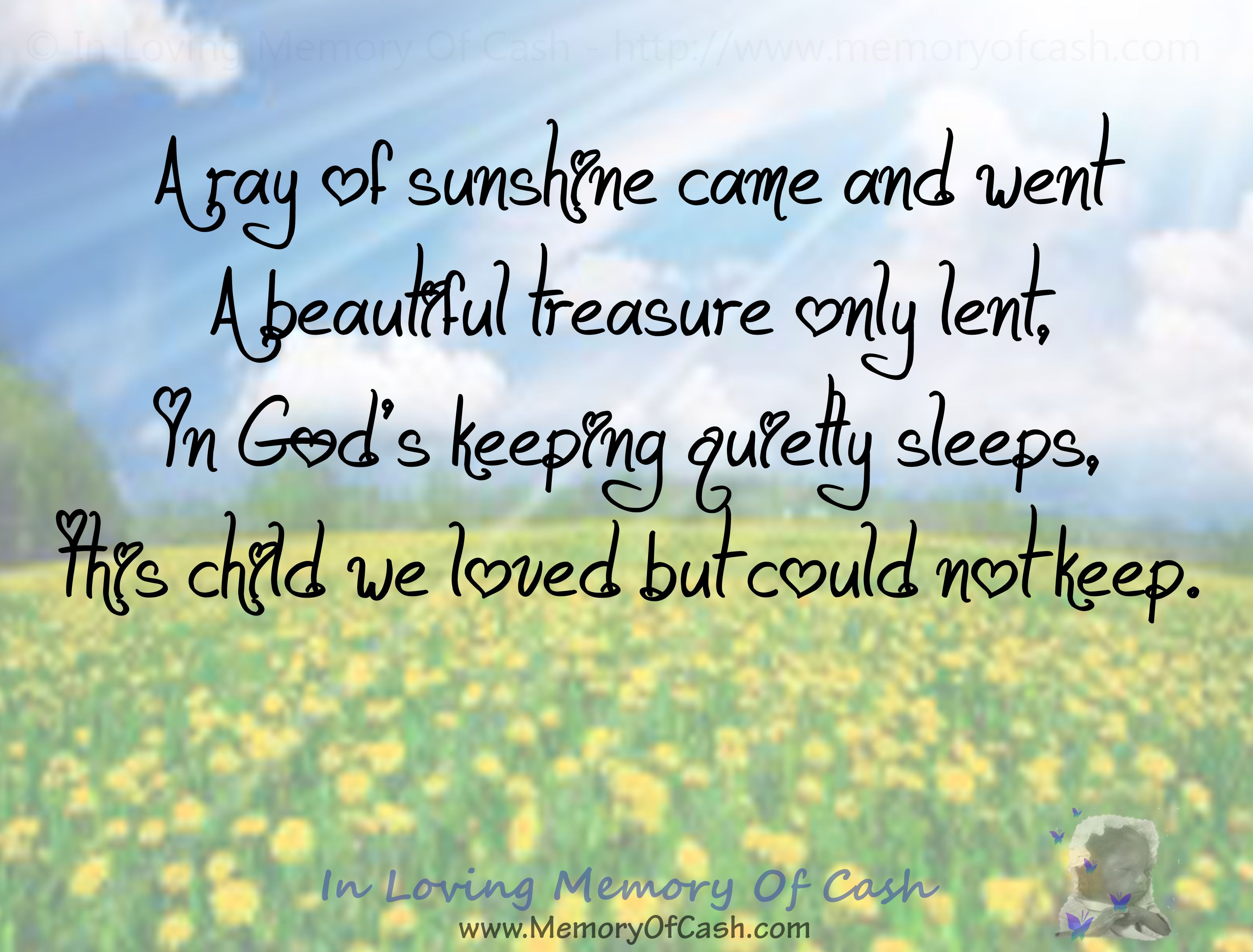 In Loving Memory Quotes A Ray Of Sunshine Came And Went A Beautiful Treasure Only Lent In