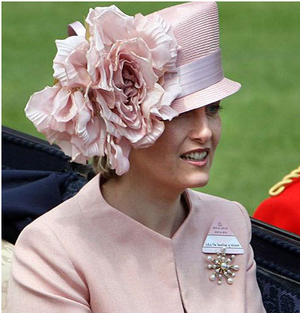 Sophie Countess of Wessex wearing a pink Philip Treacy hat at Royal Ascot.