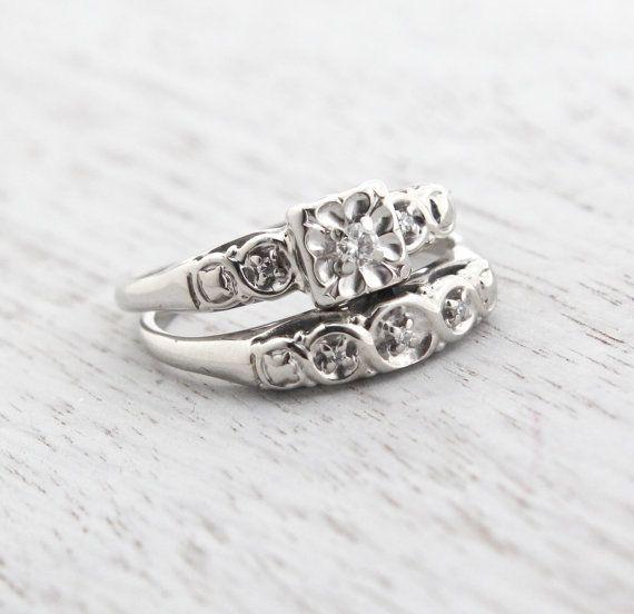 1940 Engagement Ring Set Size 7 4 random Pinterest Engagement