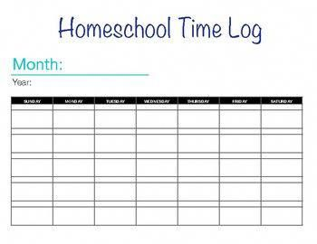 Make Keeping Track Of Time Easy With Our Homeschool Log Use This Monthly Template