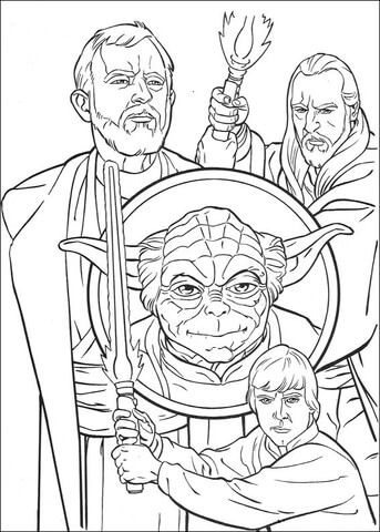 obi wan kenobi qui gon jinn yoda and luke skywalker coloring page