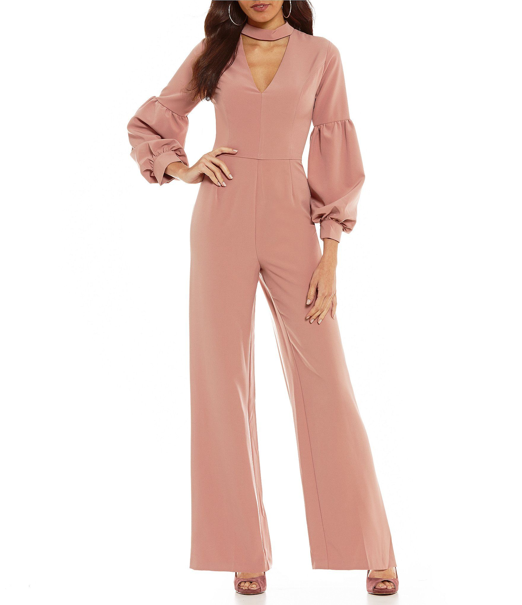 Shop For Gianni Bini Reese Choker Neck Bubble Sleeve Jumpsuit At