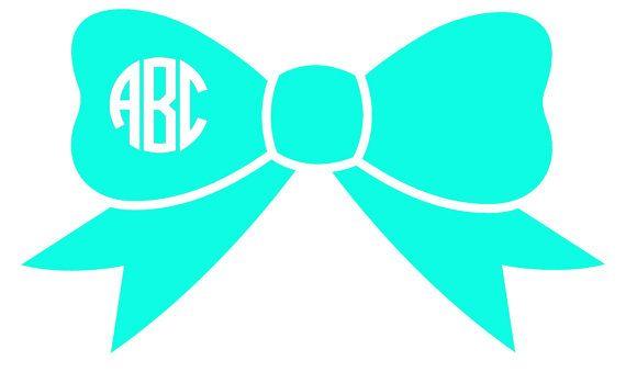 Bow Circle Vinyl Monogram, Vinyl Monogram Sticker, Monogram Car Decal, Personalized Monogrammed Sticker, Vinyl Decal