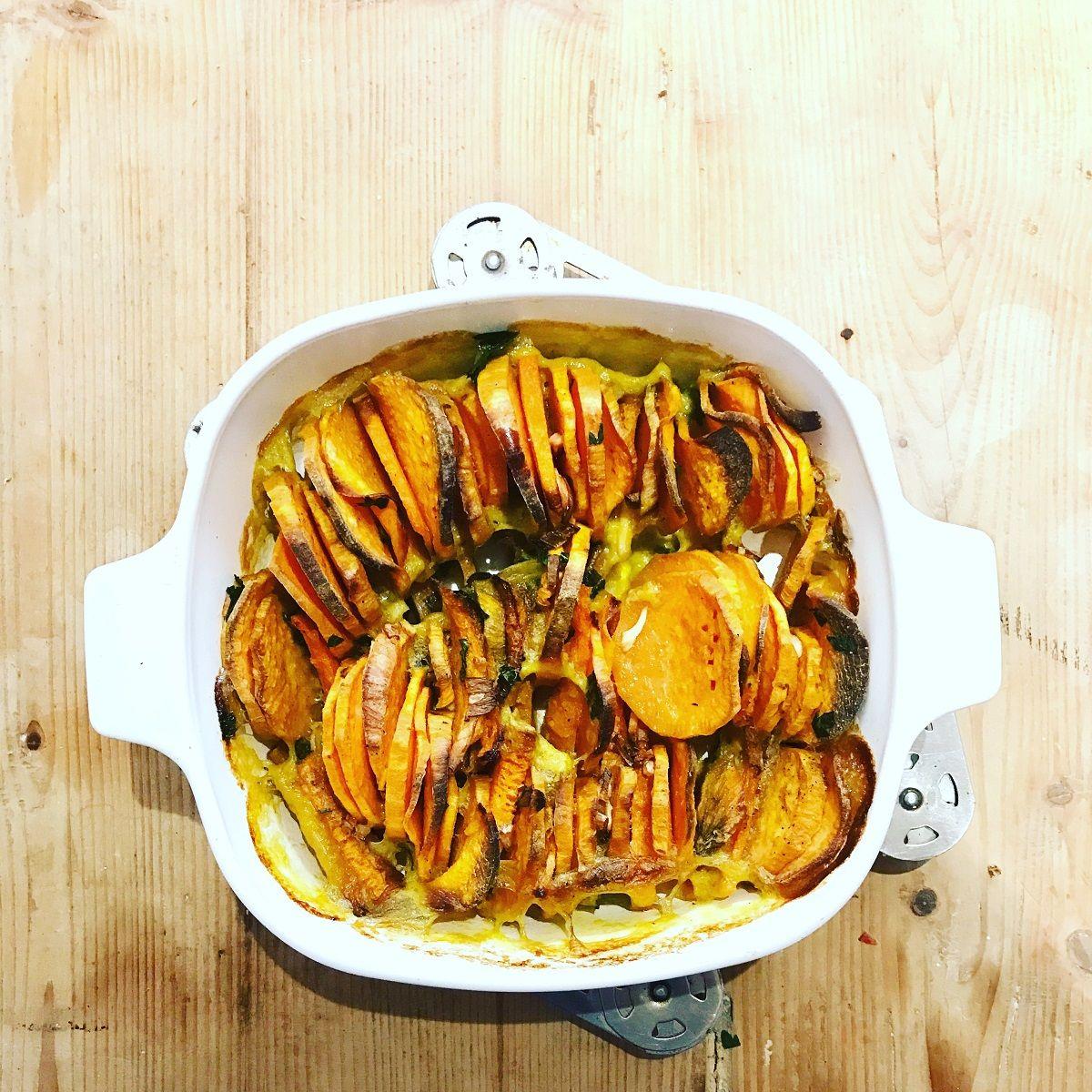 Recette rapide d'un tian aux patates douces & carottes - La saison en cuisine
