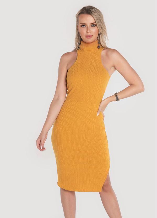 a74eacbd47a9 Vestido Canelado Midi Amarelo em 2019 | Products | Vestidos ...
