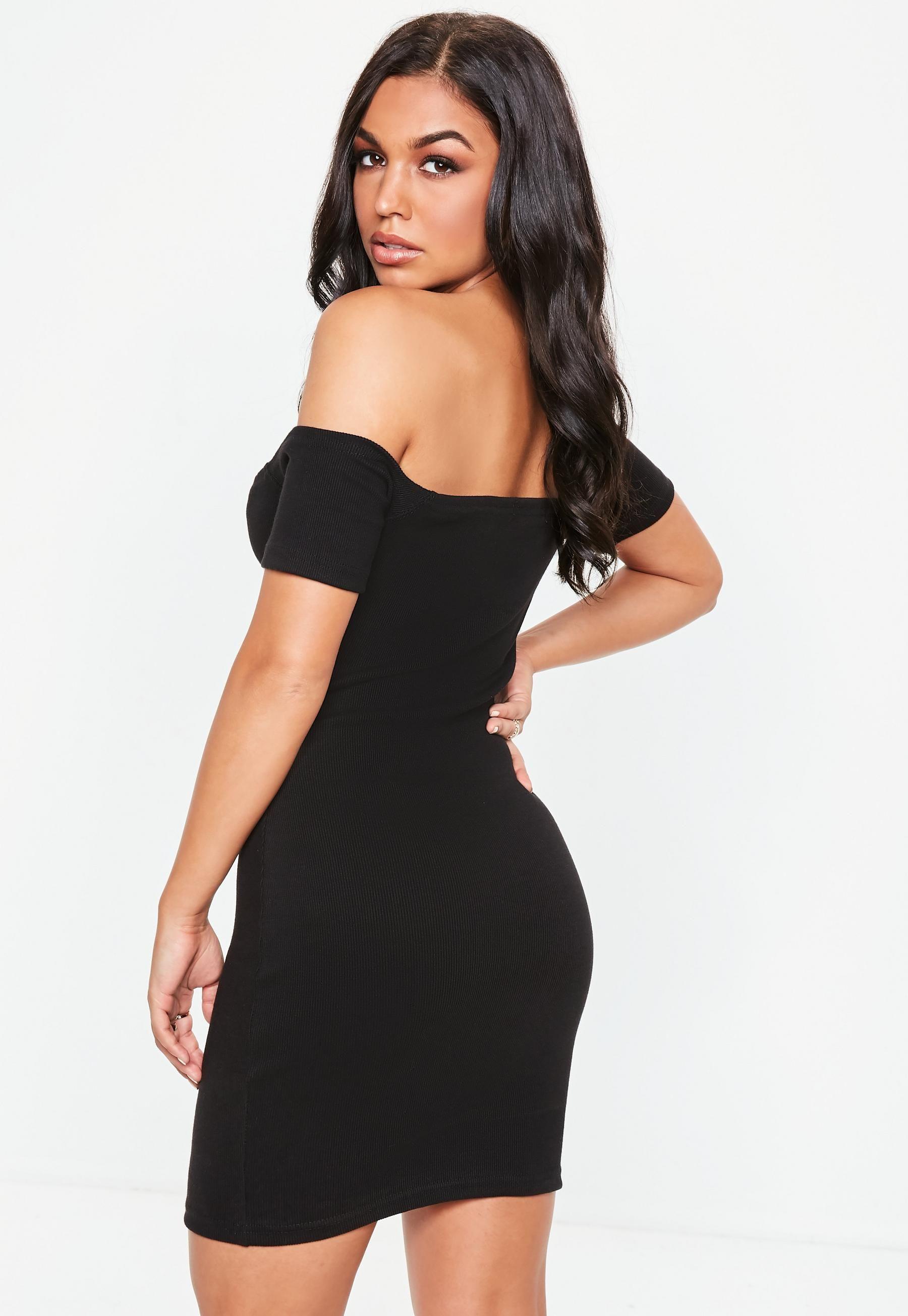 d2658f1b29 Black Bardot Ribbed Popper Bodycon Mini Dress in 2019