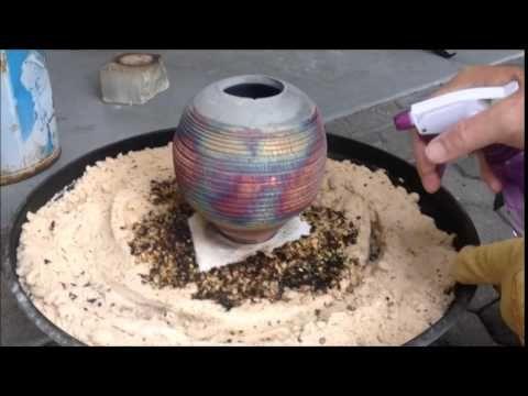 Alcohol Raku Firing Of A Copper Matte Glaze With Alcohol Reduction Ceramic Glaze Recipes Raku Pottery Raku Kiln