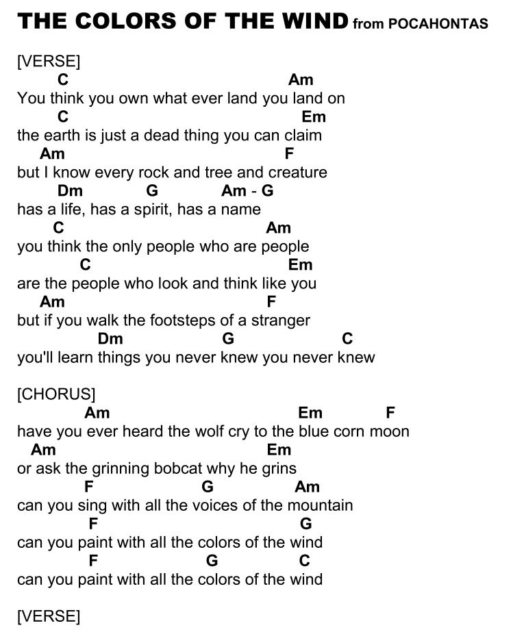 Over The Rainbow Lyrics Sheet Music: Colors Of The Wind Page 1
