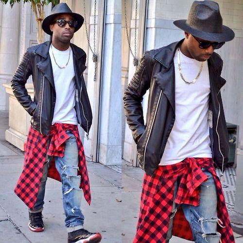 Ootd Leather Biker Jacket Zara Fedora Hat Fashion District Flannel Plaid Tee Hollywood Thrift Ripped Leather Biker Jacket Fedora Hat Style Biker Jacket